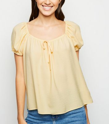 Pale Yellow Tie Front Square Neck Top
