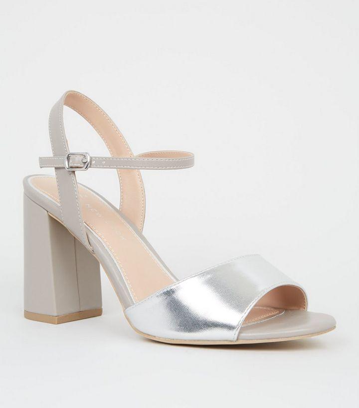 2096b10a7ef Wide Fit Silver Metallic Flare Heel Sandals