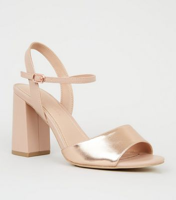 Wide Fit Rose Gold Metallic Flare Heel Sandals