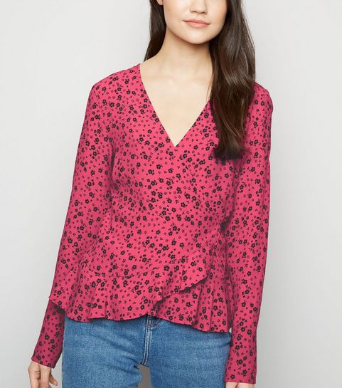 b82c3f1703 ... Pink Floral Long Sleeve Frill Wrap Top ...