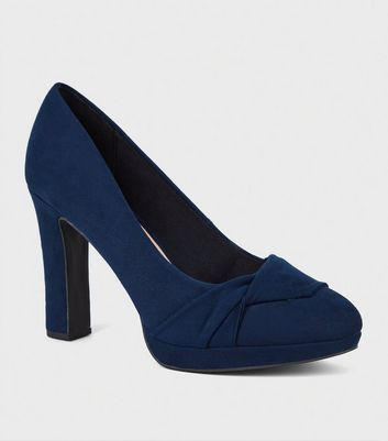Wide Fit Navy Twist Platform Court Shoes