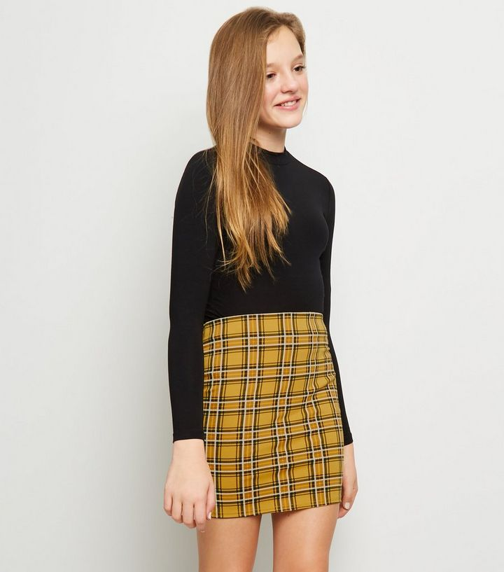 09086ffcf0 Girls Mustard Check Tube Skirt | New Look