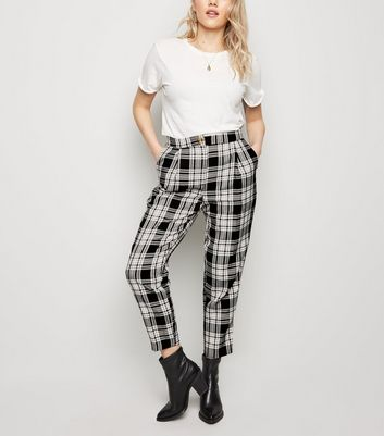 Black Check Print Slim Leg Trousers