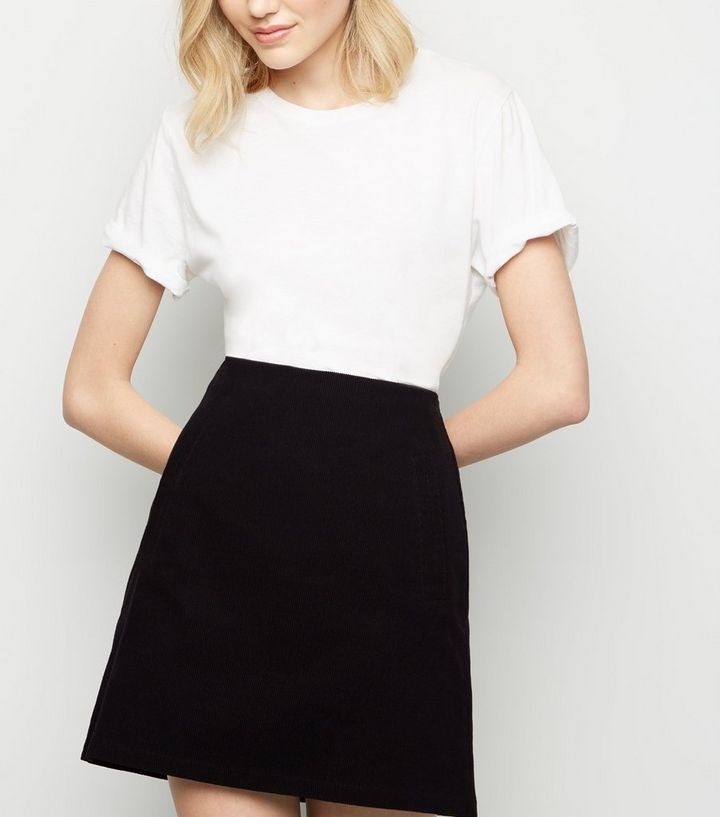 0c28f114e6 Black Corduroy High Waist Mini Skirt