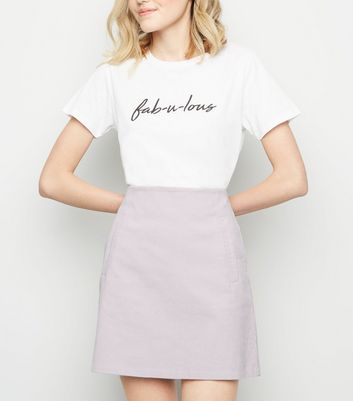 Lilac Corduroy High Waist Mini Skirt