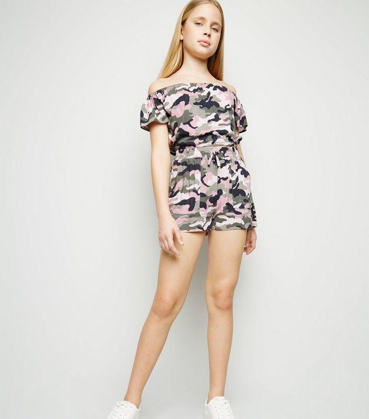 d0e81e408 Girls Pink Camo Runner Shorts | New Look