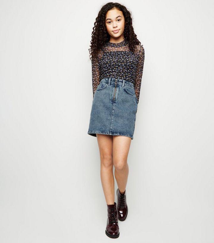 0997529a473f Girls Blue Acid Wash Ring Zip Denim Skirt   New Look