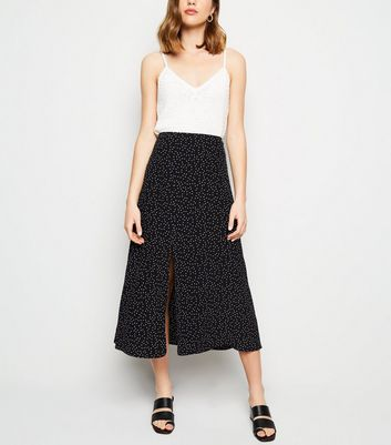 Black Spot Print Split Side Midi Skirt
