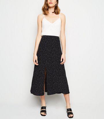 Black Spot Print Split Side Midi Skirt