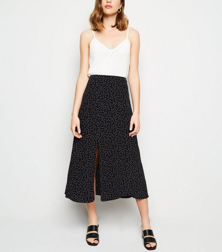 structural disablities rock-bottom price 50-70%off Black Spot Print Split Side Midi Skirt Add to Saved Items Remove from Saved  Items