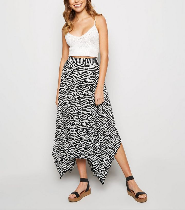 f14c1eec White Zebra Print Hanky Hem Pleated Midi Skirt   New Look