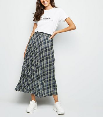 Black Check Print Pleated Midi Skirt