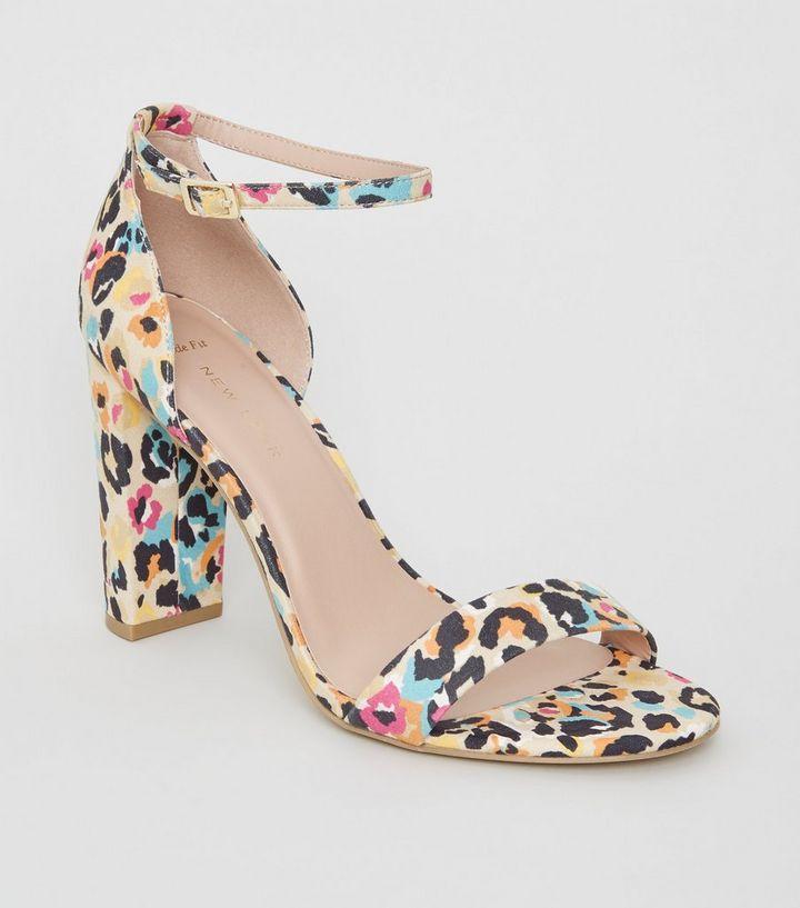 90ca8507701d Wide Fit Multicoloured Leopard Print Block Heels | New Look