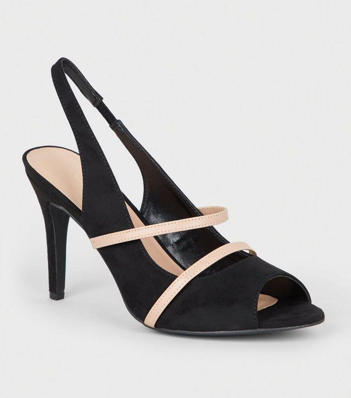 be2954d0cb Black Contrast Strap Peep Toe Stiletto Slingbacks | New Look