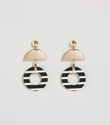 Black Stripe Resin and Metal Earrings