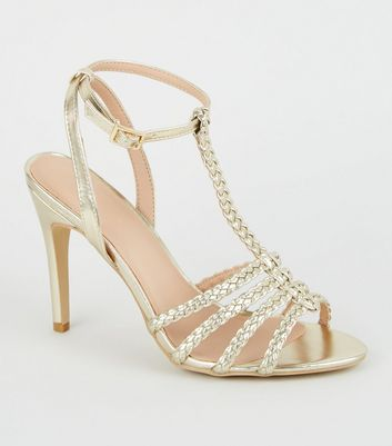 Gold Metallic Plait Strappy Stiletto Heels