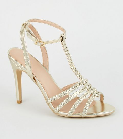 aaa90e857b1 ... Gold Metallic Plait Strappy Stiletto Heels ...
