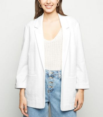 White Crosshatch Blazer