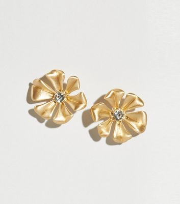 Gold Gem Flower Oversized Stud Earrings