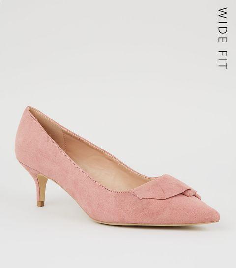 f5217d93f56 ... Wide Fit Pink Pleated Trim Kitten Heels ...