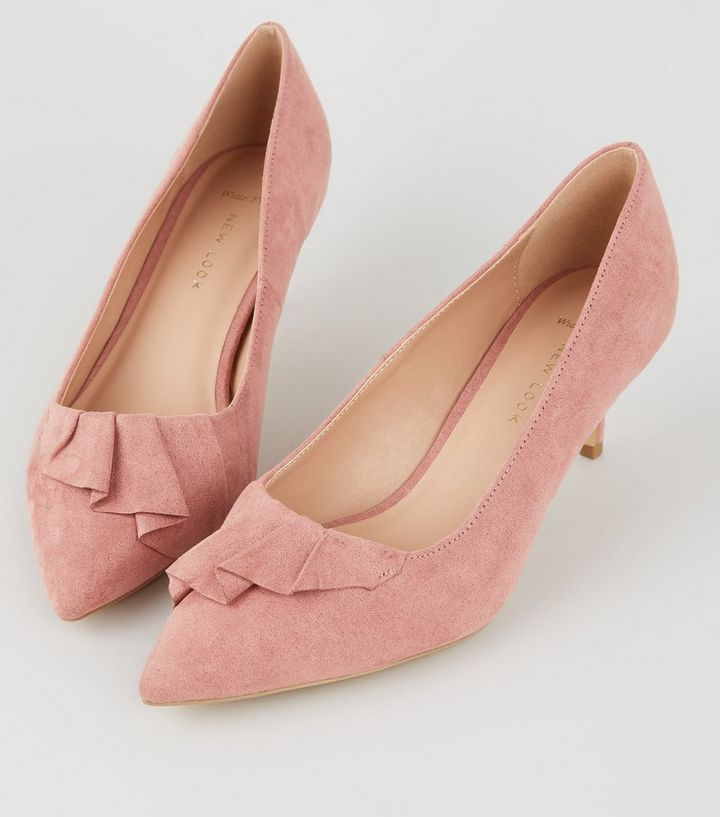 a47694af1215 ... Wide Fit Pink Pleated Trim Kitten Heels. ×. ×. ×. Shop the look
