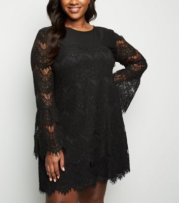 Curves Black Lace Sleeve Dress