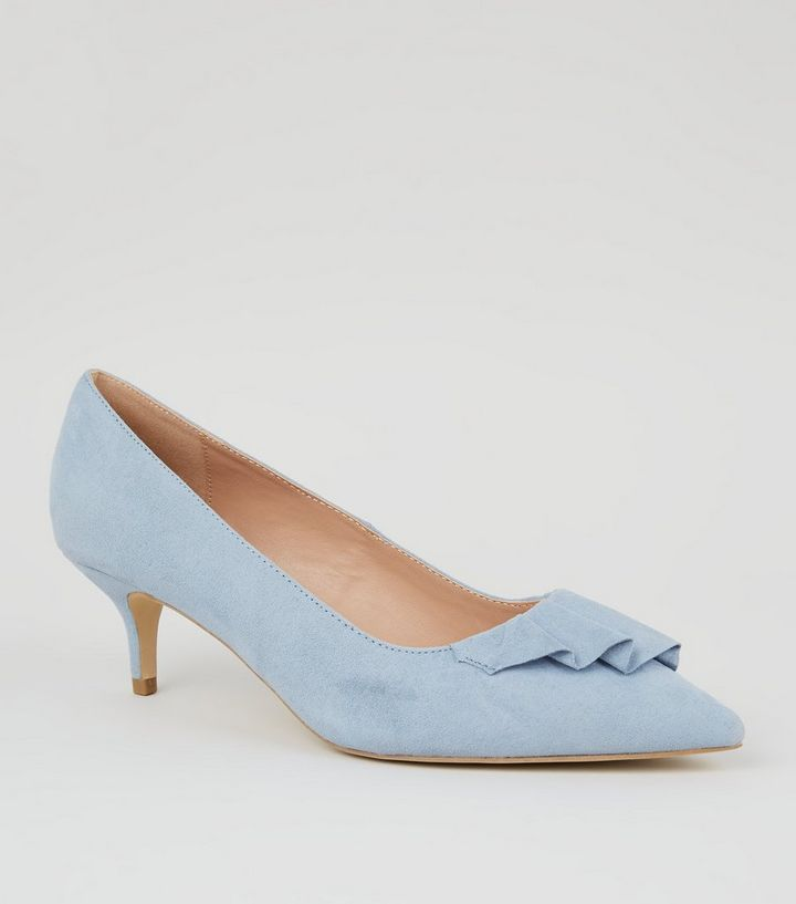 65a5116e3b6 Wide Fit Pale Blue Pleated Trim Kitten Heels Add to Saved Items Remove from  Saved Items