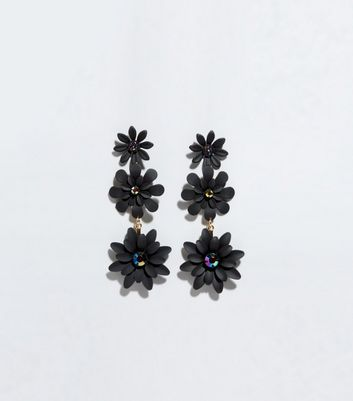 Black 3 Drop Flower Earrings