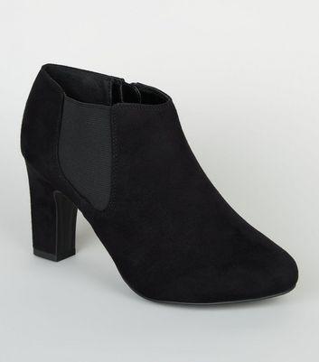 Wide Fit Black Suedette Shoe Boots