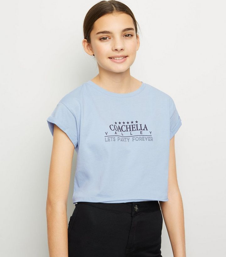 4a11a9c6512 Girls Pale Blue Coachella Slogan T-Shirt