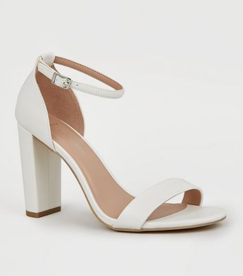 Wide Fit White Block Heel Sandals