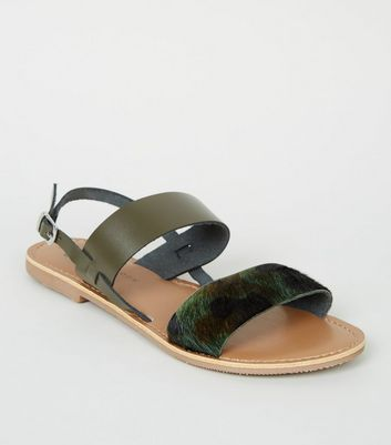 Girls Green Leather Camo Strap Sandals