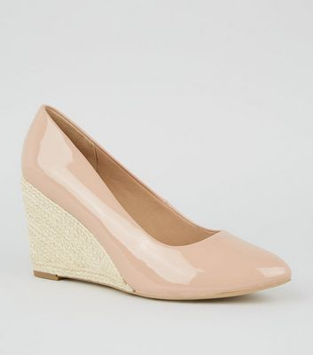 Wide Fit Nude Patent Espadrille Wedge Heels