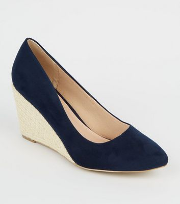 Wide Fit Navy Suedette Espadrille Wedges