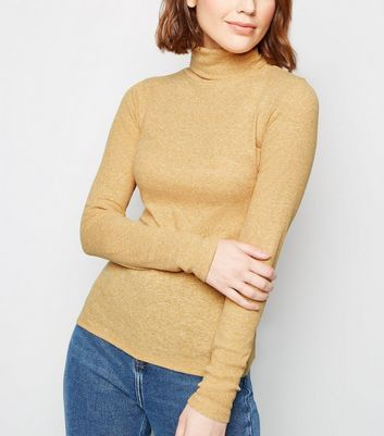 Mustard Ribbed Roll Neck Long Sleeve Top