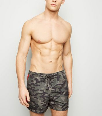 Khaki Camo Print Swimming Shorts