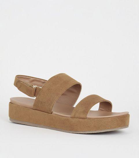 acd3dba4d0c1 ... Girls Tan Suedette 2 Part Flatform Sandals ...