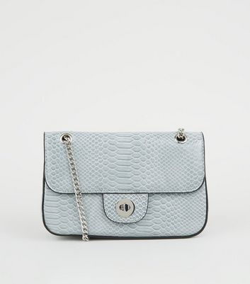 Pale Blue Faux Chain Shoulder Bag