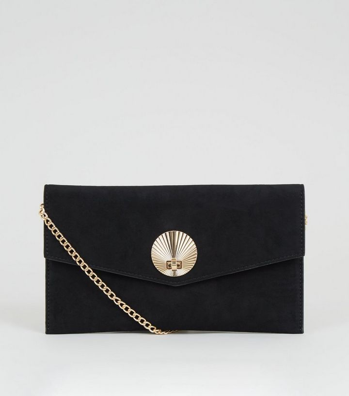 55180e0c3b Black Suedette Shell Disc Clutch Bag | New Look