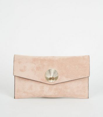 Nude Suedette Shell Disc Clutch Bag