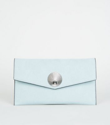 Mint Green Suedette Shell Disc Clutch Bag