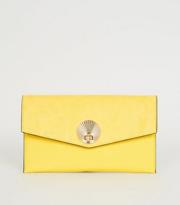 Yellow Suedette Shell Disc Clutch Bag