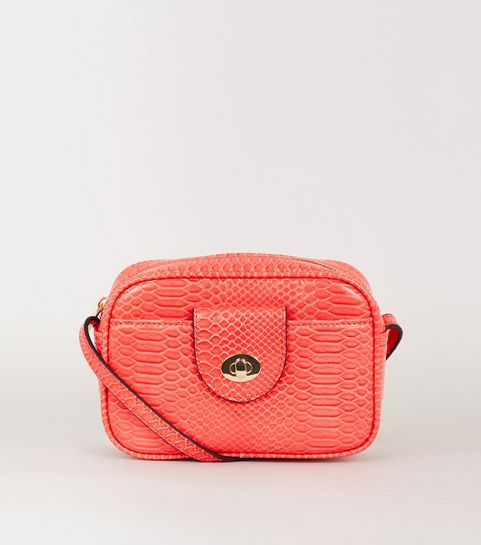 ... Coral Faux Snake Camera Bag ... dfb76c157f860