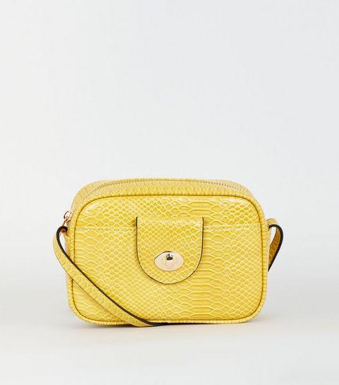 ... Mustard Faux Snake Camera Bag ... ad4f853fe54ba