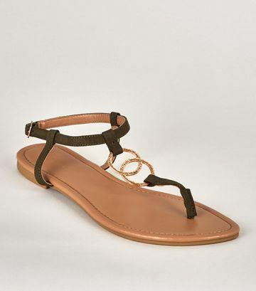 Khaki Hammered Ring Strap Flat Sandals