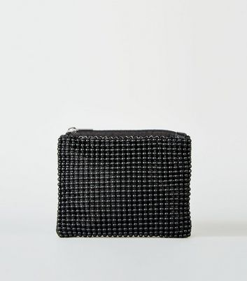 Black Beaded Zip Coin Purse