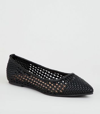 Black Woven Pointed Ballet Pumps