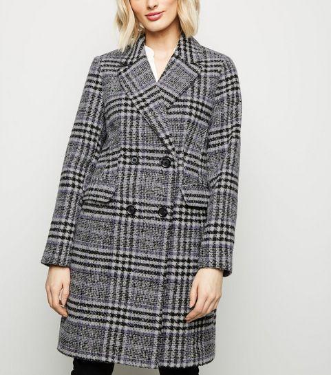 2055b69a67ed ... Manteau noir et lilas texturé à carreaux ...