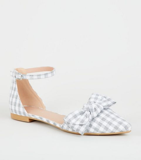 0429661f609 ... Grey Gingham Bow Front 2 Part Pumps ...