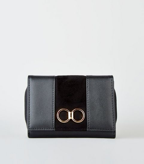 9455c20613 ... Black Leather-Look Ring Front Purse ...